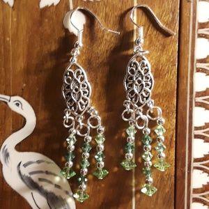 Jewelry - Elegant Chandelier green bicone crystal earrings!